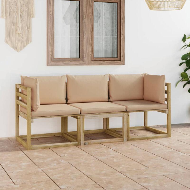 Canape de jardin 3 places avec coussins beige