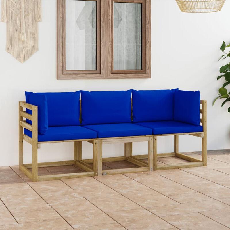 Canape de jardin 3 places avec coussins bleu