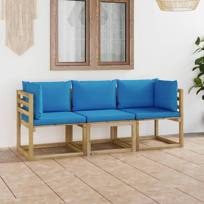 Canape de jardin 3 places avec coussins bleu clair