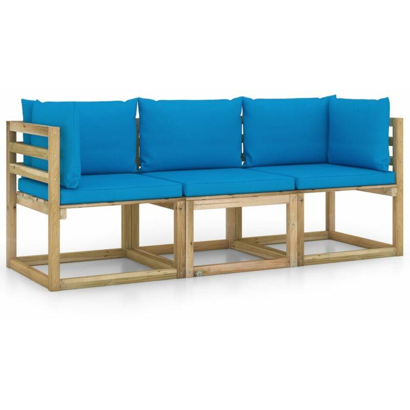 Vidaxl - Canapé de jardin 3 places avec coussins bleu clair