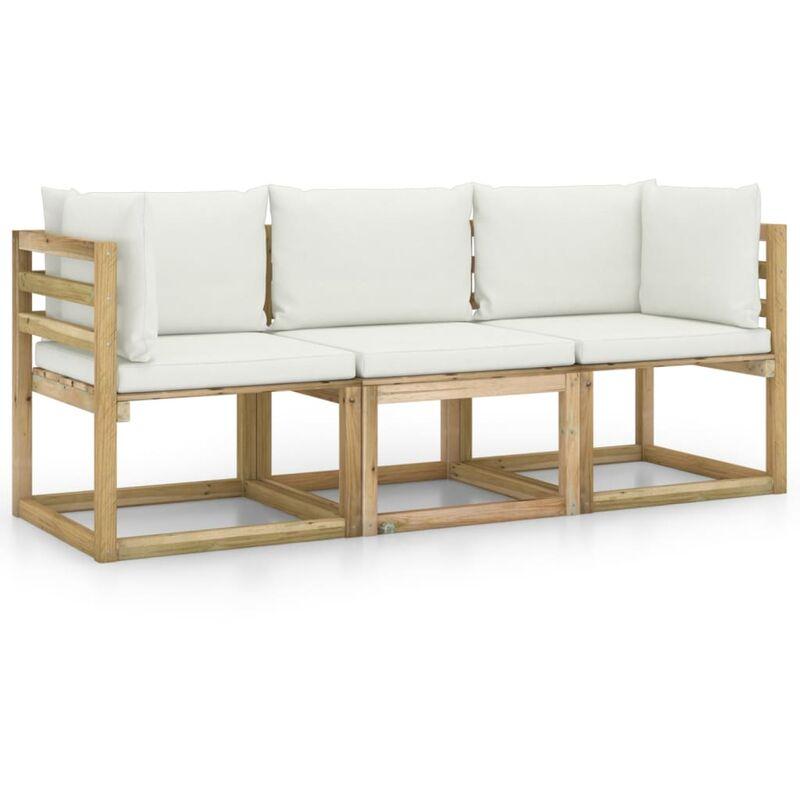 Canapé de jardin 3 places avec coussins crème