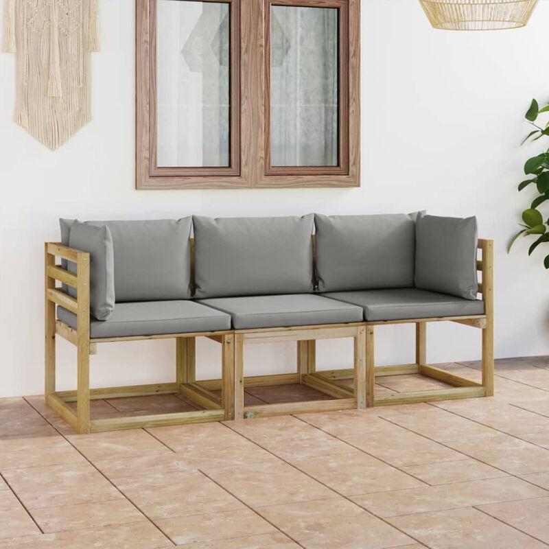 Canape de jardin 3 places avec coussins gris