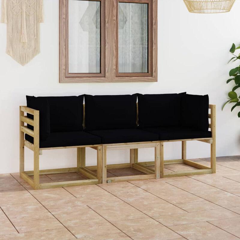 Canape de jardin 3 places avec coussins noir
