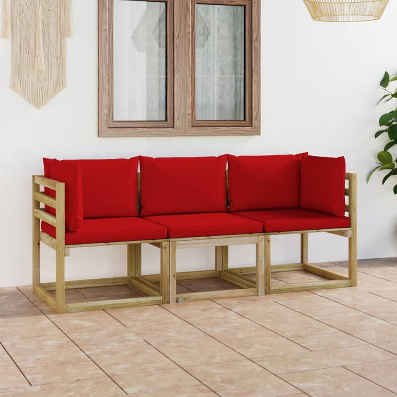 Canape de jardin 3 places avec coussins rouge
