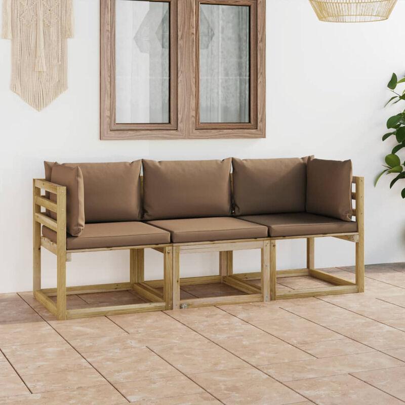 Canape de jardin 3 places avec coussins taupe