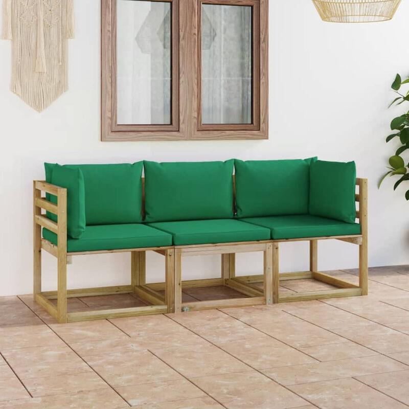 Canape de jardin 3 places avec coussins vert