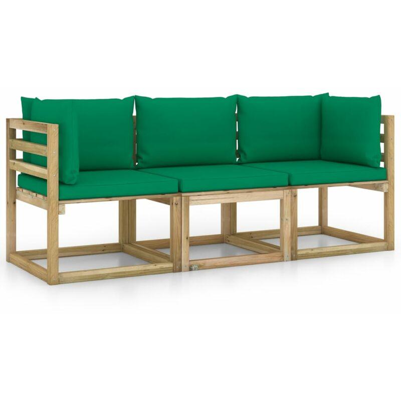 Vidaxl - Canapé de jardin 3 places avec coussins vert