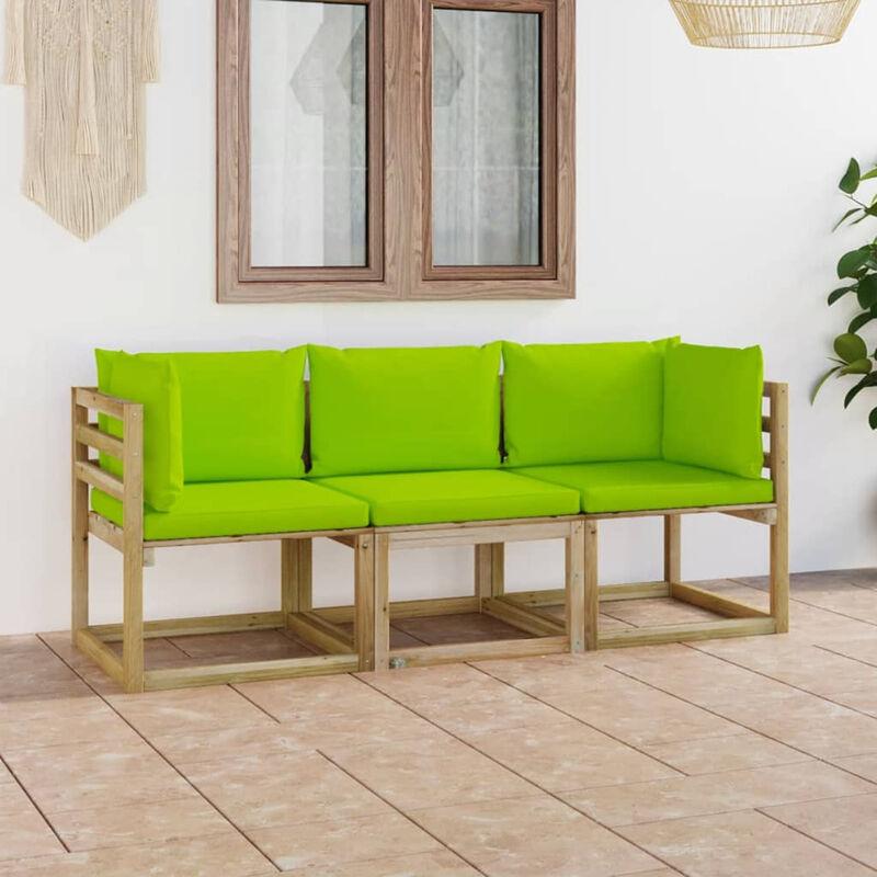 Canape de jardin 3 places avec coussins vert vif