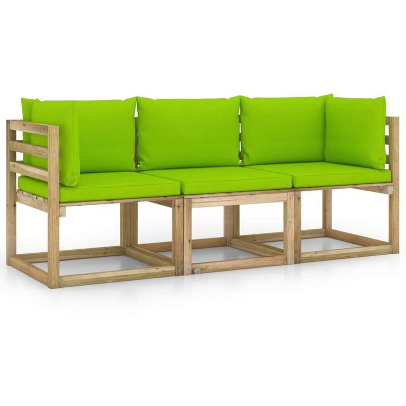 Vidaxl - Canapé de jardin 3 places avec coussins vert vif