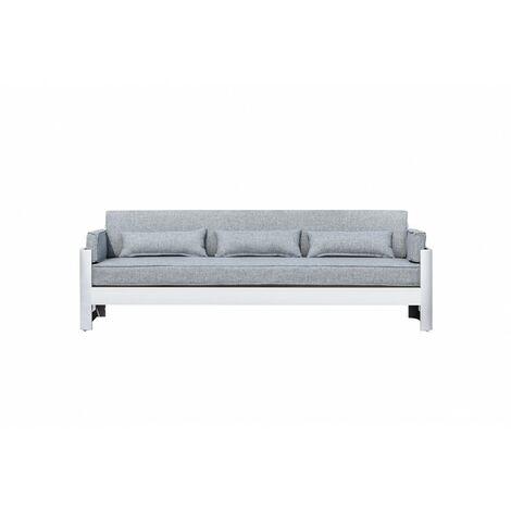 Canapé de jardin 3 places en aluminium blanc et coussins gris - LAGUNA - Blanc