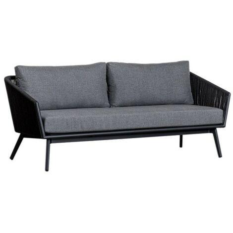 Canapé de jardin 3 places en aluminium coussins gris et corde - PARADISE - Gris anthracite