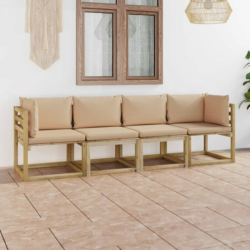 Canape de jardin 4 places avec coussins beige