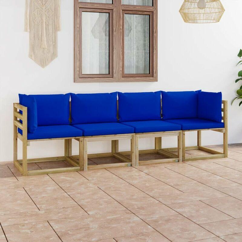 Canape de jardin 4 places avec coussins bleu