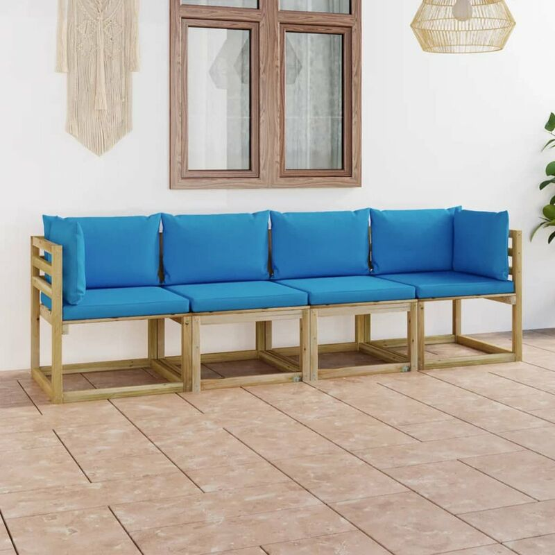 Canape de jardin 4 places avec coussins bleu clair