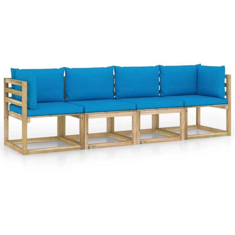 Vidaxl - Canapé de jardin 4 places avec coussins bleu clair