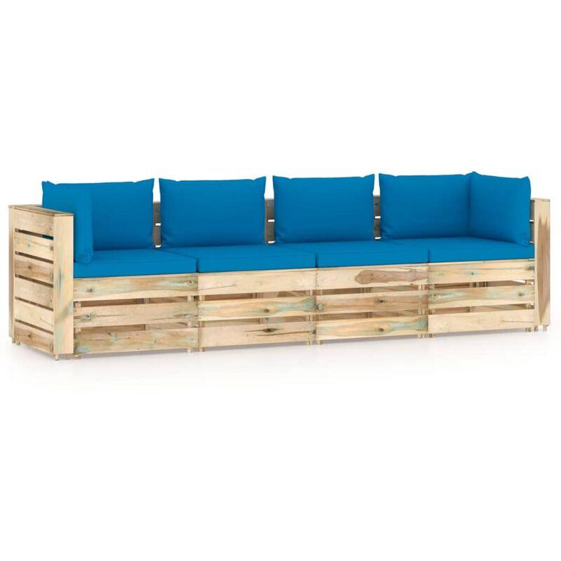 Canapé de jardin 4 places avec coussins Bois imprégné de vert