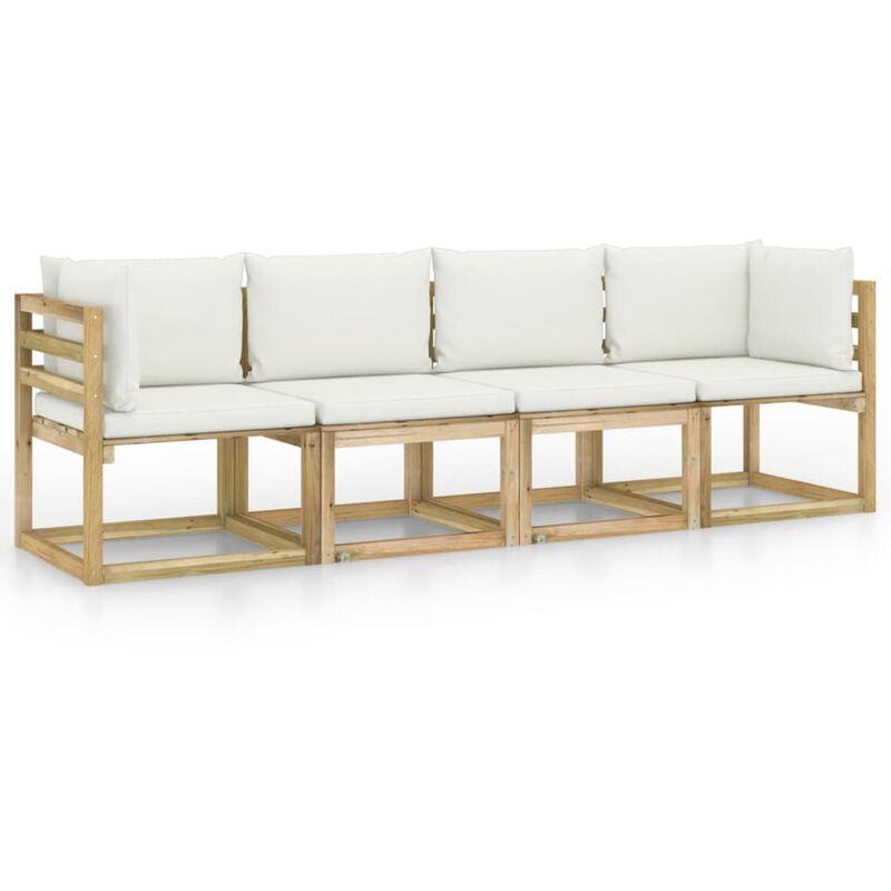 Canapé de jardin 4 places avec coussins crème