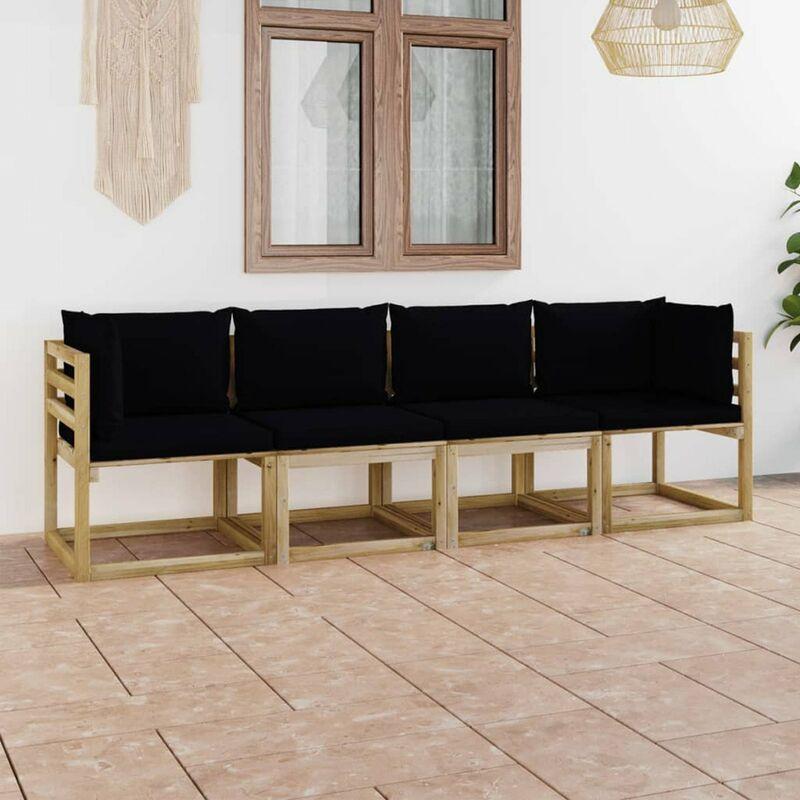 Canape de jardin 4 places avec coussins noir