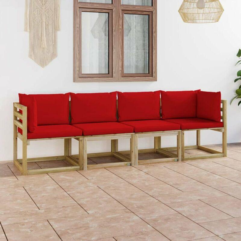 Canape de jardin 4 places avec coussins rouge