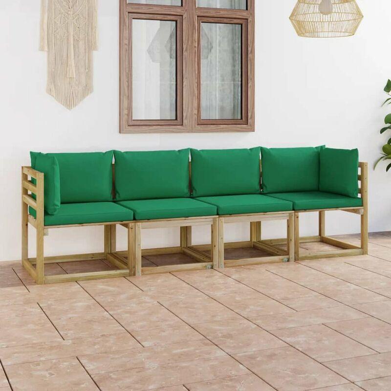 Canape de jardin 4 places avec coussins vert