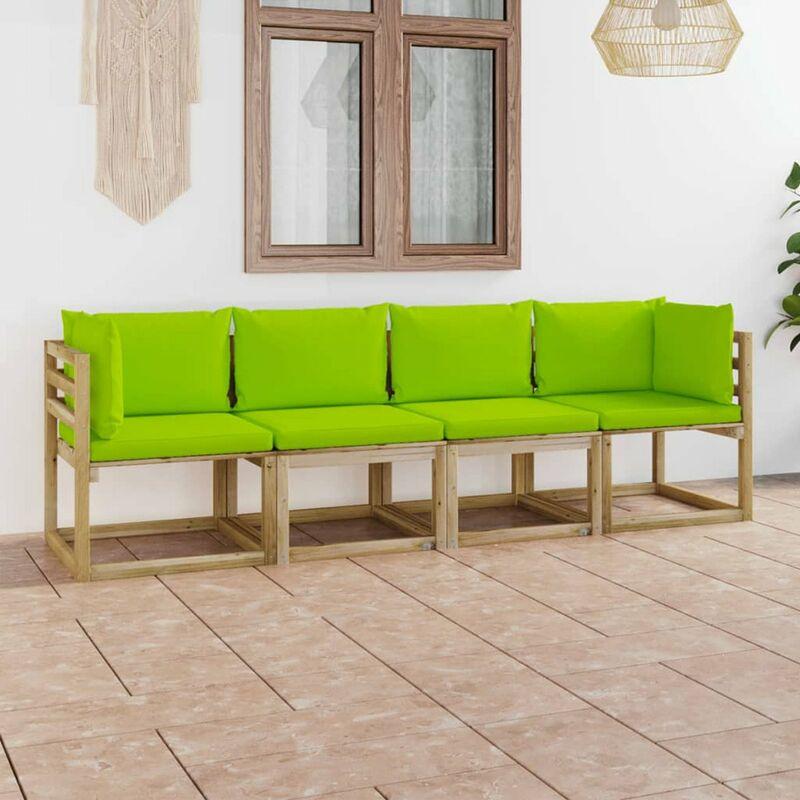 Canape de jardin 4 places avec coussins vert vif