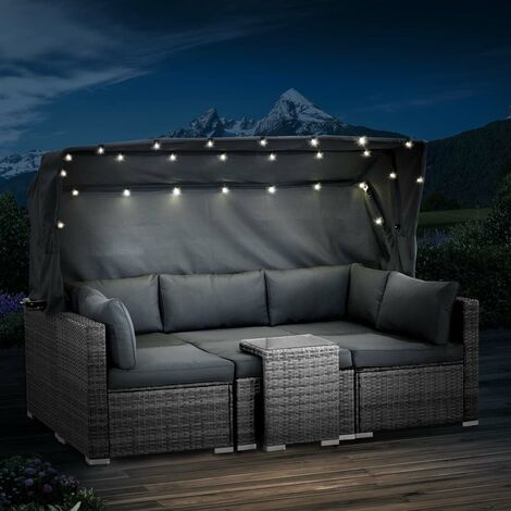 Canape de jardin 6 pcs droit LED 230 cm modulable gris foncé très confortable - salon de jardin polyrotin tressé 6 places de BRAST
