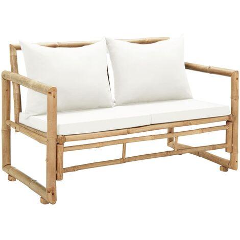 Canapé de jardin à 2 places avec coussins Bambou