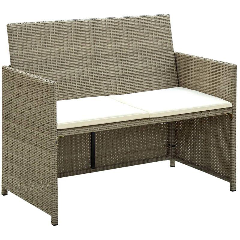 Youthup - Canapé de jardin à 2 places avec coussins Gris Résine tressée