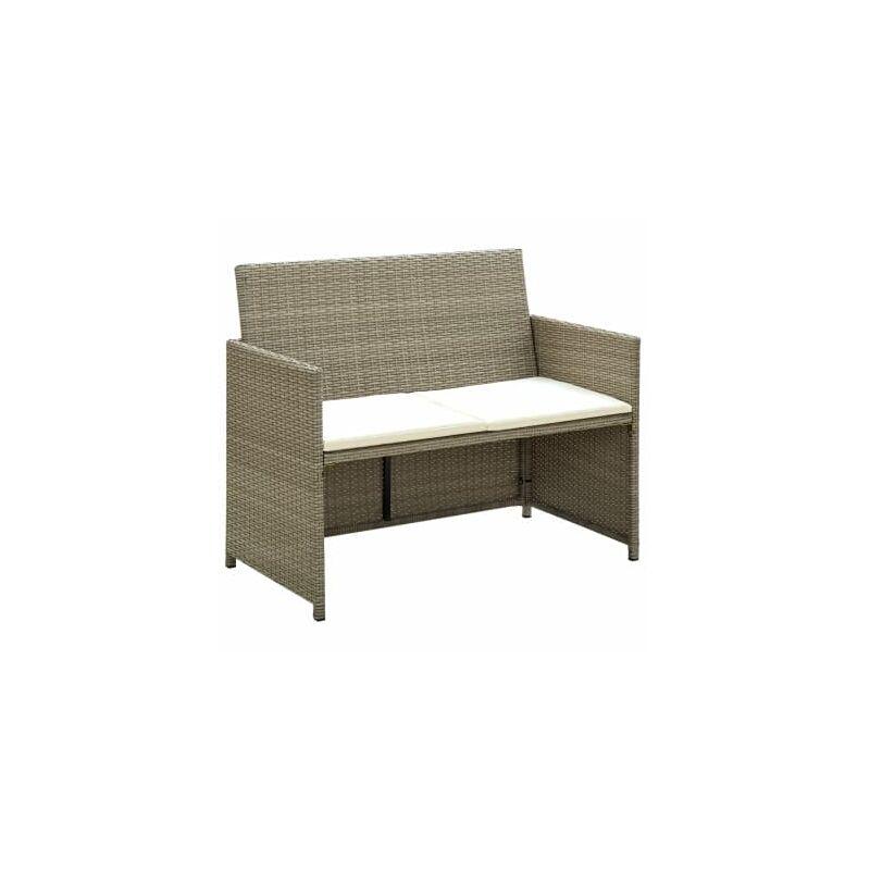 Canape de jardin a 2 places avec coussins Gris Resine tressee
