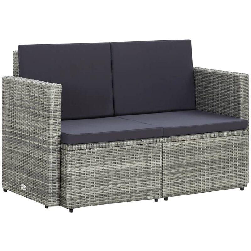 Canapé de jardin à 2 places avec coussins Gris Résine tressée9062-A