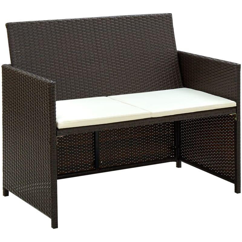 Canapé de jardin à 2 places avec coussins Marron Résine tressée