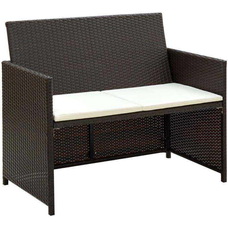 Canape de jardin a 2 places avec coussins Marron Resine tressee