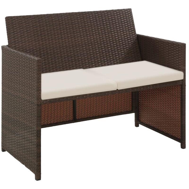 Canapé de jardin à 2 places avec coussins Marron Résine tressée8809-A