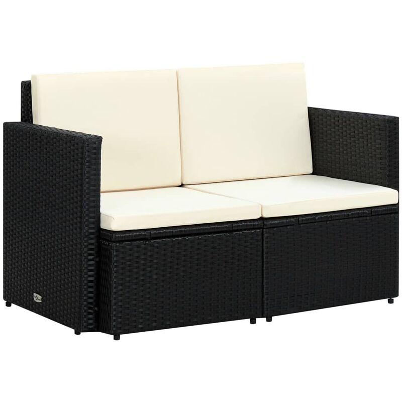 Youthup - Canapé de jardin à 2 places avec coussins Noir Résine tressée