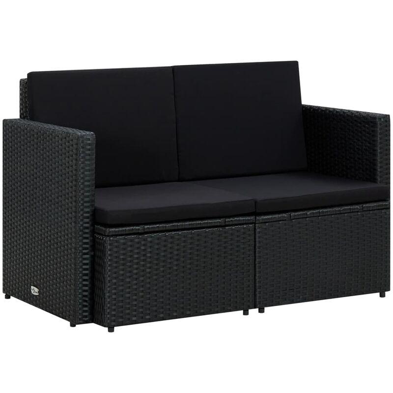 Canapé de jardin à 2 places avec coussins Noir Résine tressée