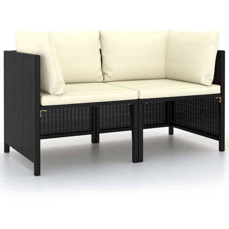 Canapé de jardin à 2 places avec coussins Noir Résine tressée6893-A