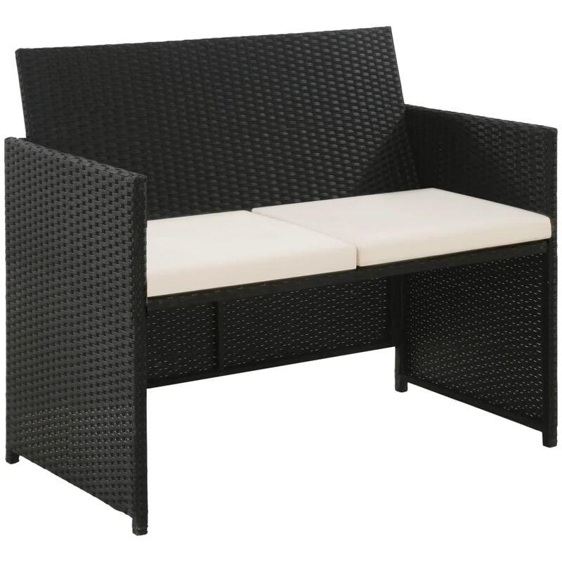 Canapé de jardin à 2 places avec coussins Noir Résine tressée8808-A