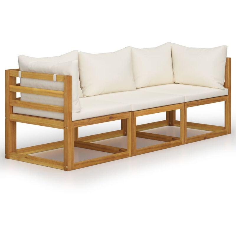 Youthup - Canapé de jardin à 3 places avec coussin Crème Bois d'acacia