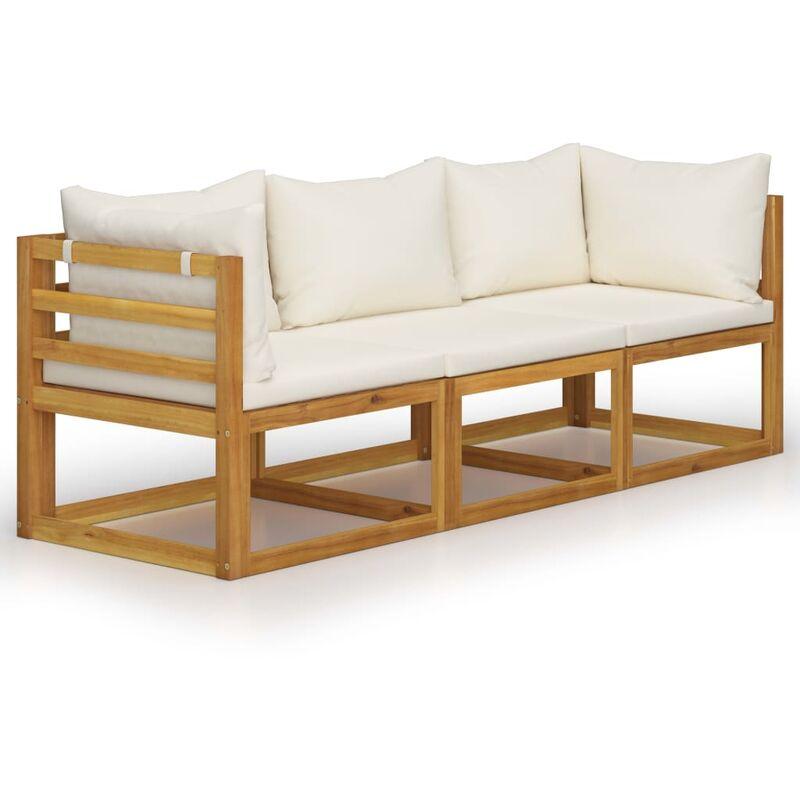 Canapé de jardin à 3 places avec coussin Crème Bois d'acacia4454-A