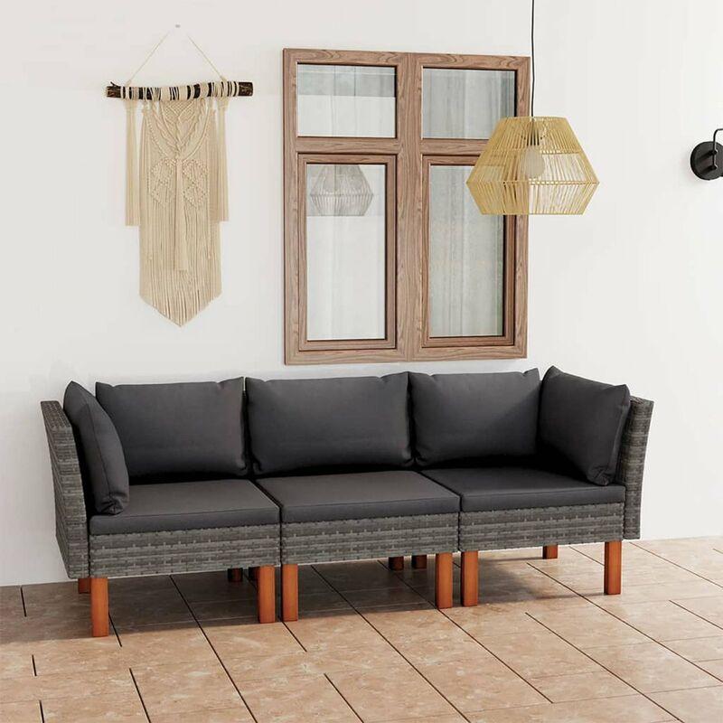 Canape de jardin a 3 places avec coussins Gris Resine tressee