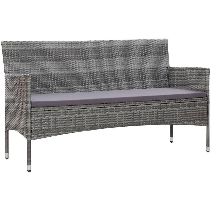 Canapé de jardin à 3 places avec coussins Gris Résine tressée9065-A