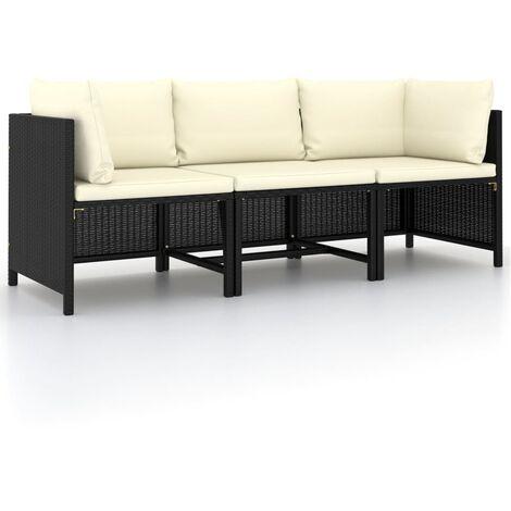 Canapé de jardin à 3 places avec coussins Noir Résine tressée