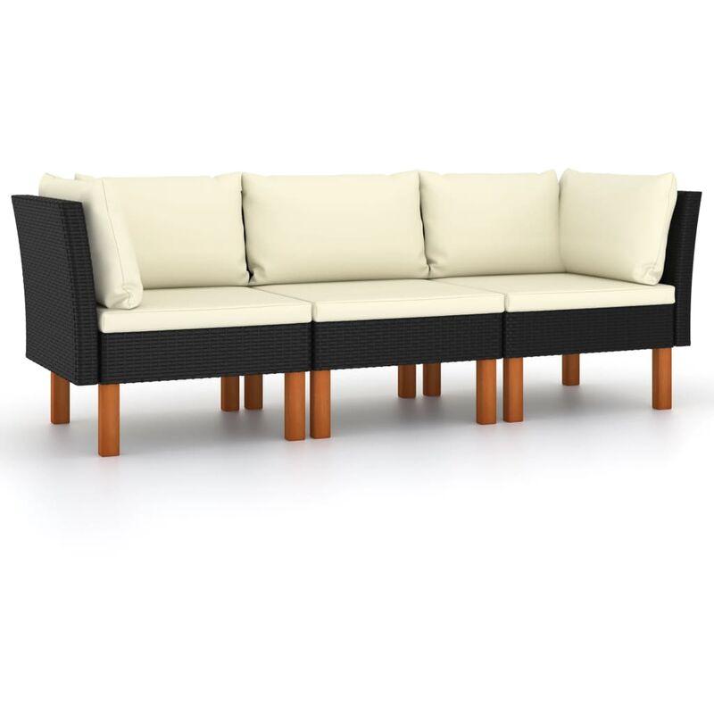 Canapé de jardin à 3 places avec coussins Noir Résine tressée4511-A