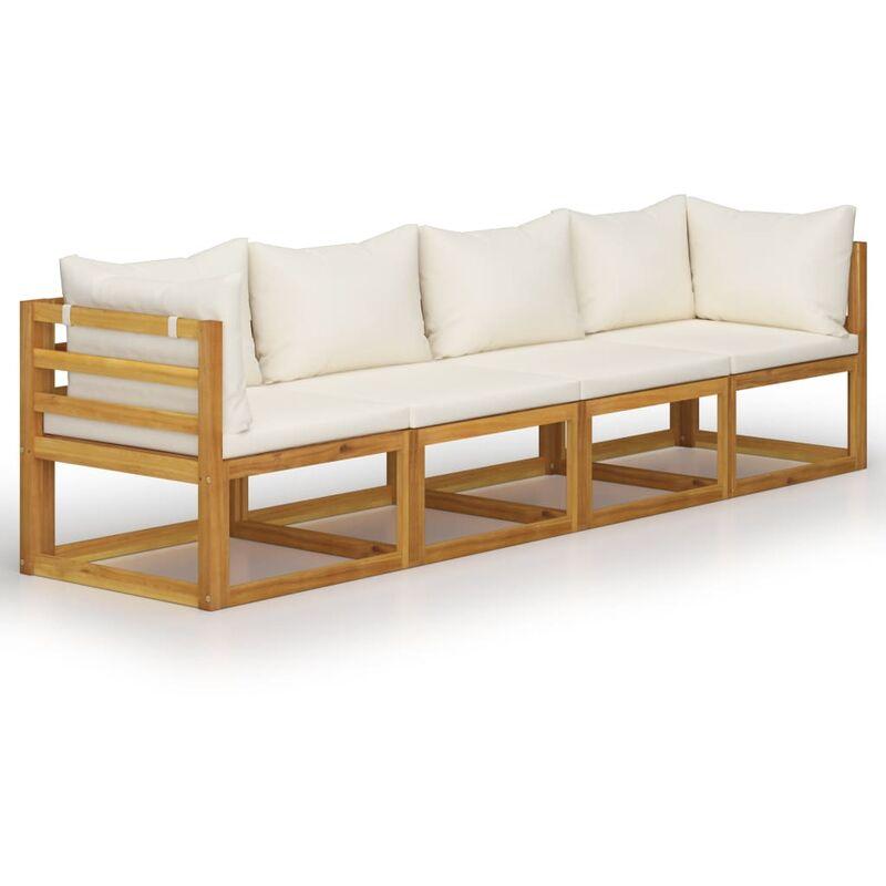 Youthup - Canapé de jardin à 4 places avec coussin Crème Bois d'acacia