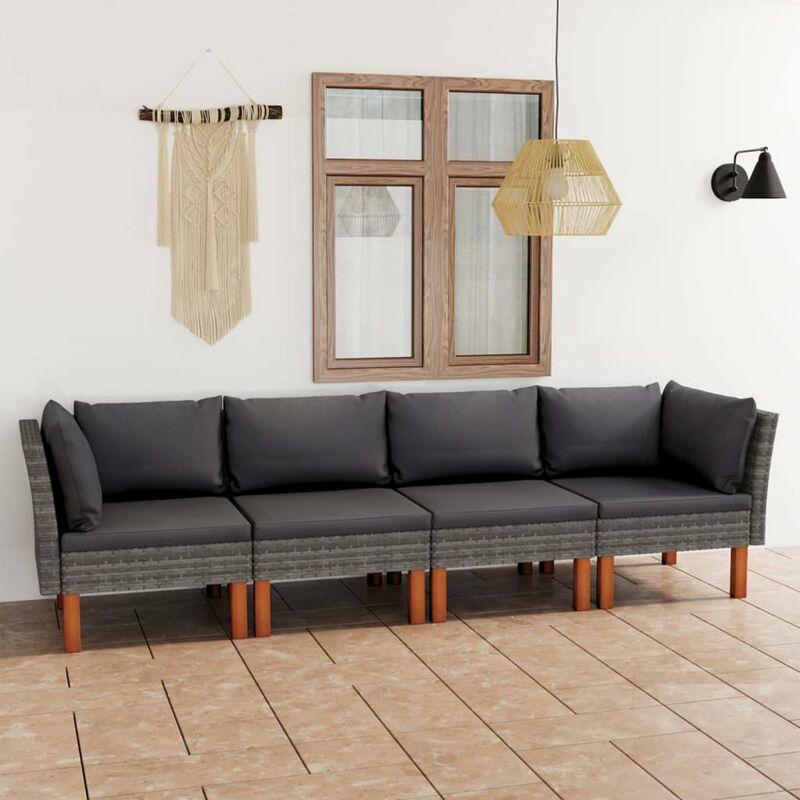 Canape de jardin a 4 places avec coussins Gris Resine tressee