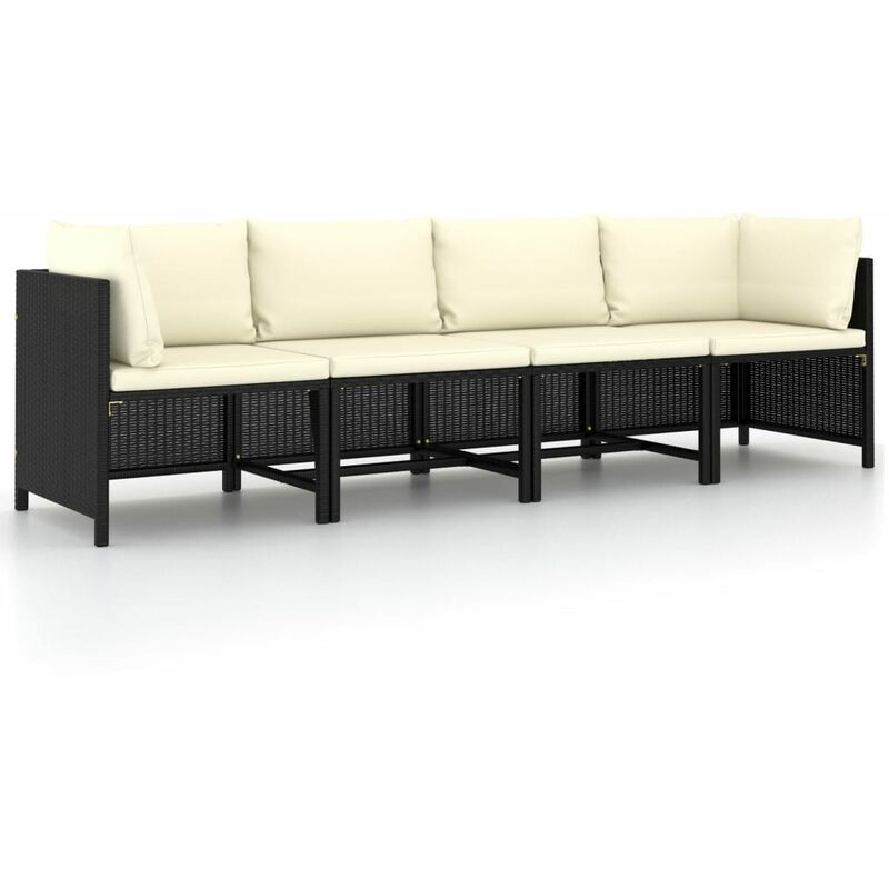 Youthup - Canapé de jardin à 4 places avec coussins Noir Résine tressée
