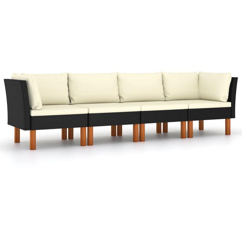 Canapé de jardin à 4 places avec coussins Noir Résine tressée4512-A
