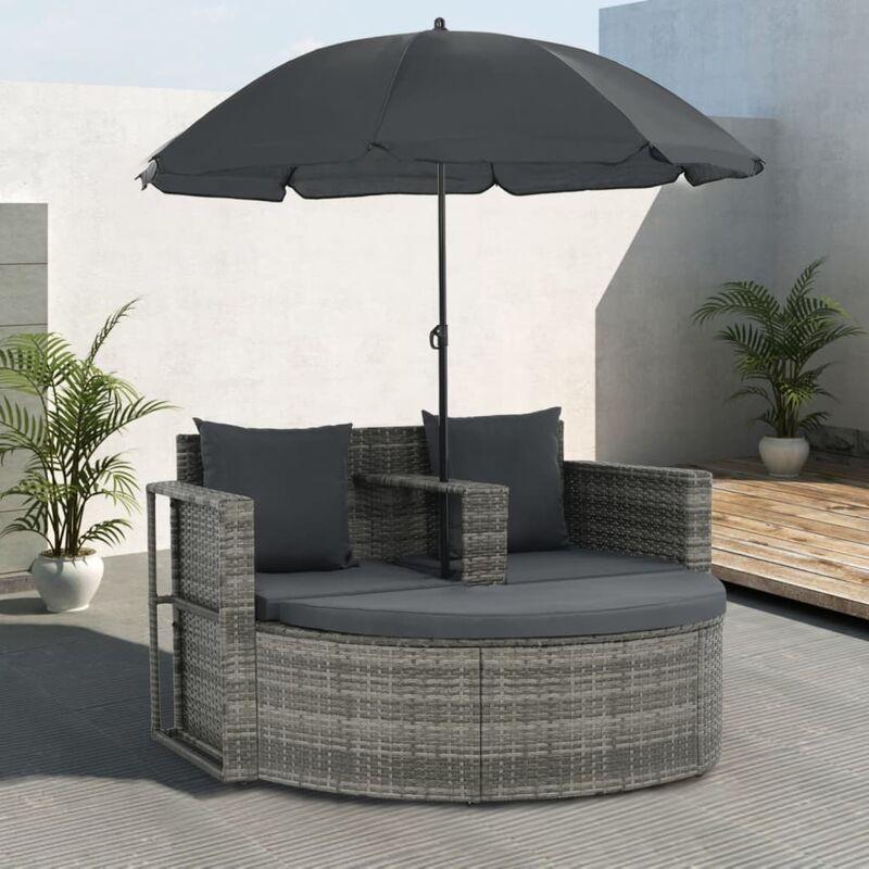 Youthup - Canapé de jardin avec coussins et parasol Gris Résine tressée