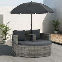 Canapé de jardin avec coussins et parasol Gris Résine tressée