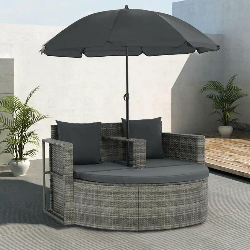 Canapé de jardin avec coussins et parasol Gris Résine tressée8877-A